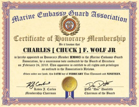 OUR NEWEST HONORARY MEMBER | CHARLES [ CHUCK ] F. WOLF JR., GYSGT, U.S. MARINES [ RET. ]